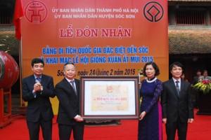 Khu di tích Đền Sóc đón Bằng xếp hạng Di tích quốc gia đặc biệt